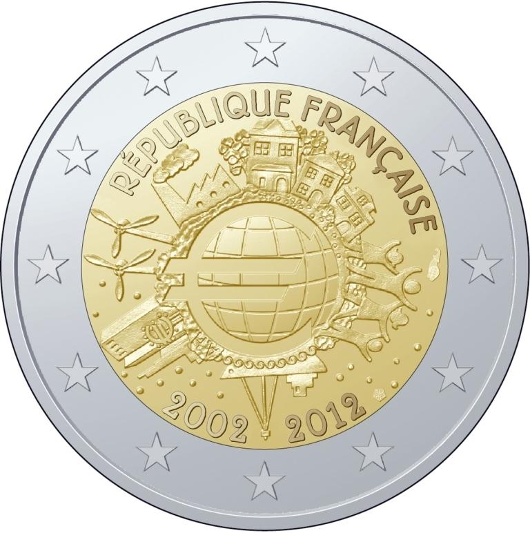 2 euro france 2012 10 ans de l 39 euro eurocollection. Black Bedroom Furniture Sets. Home Design Ideas
